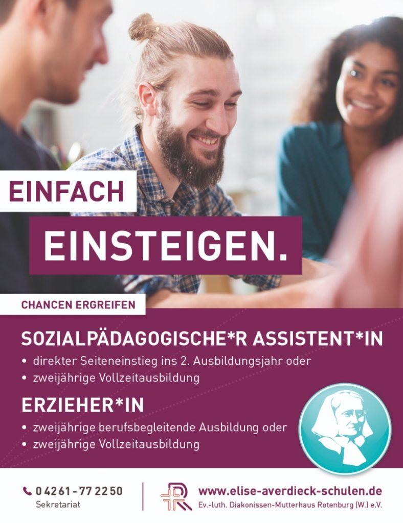 """Die Anzeige """"Einfach Einsteigen"""" von der aktuellen Werbung der Elise-Averdieck-Schulen"""